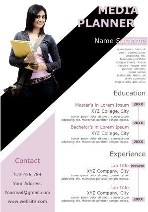 Sample Job Winning Resume Format For Media Planner