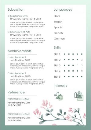 Sample Of Resume And Curriculum Vitae Layout Template