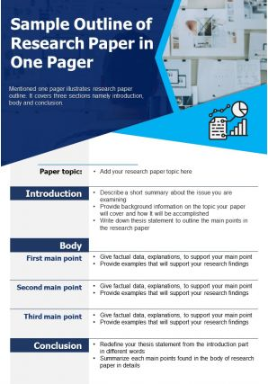 Sample Outline Of Research Paper In One Pager Presentation Report Infographic PPT PDF Document