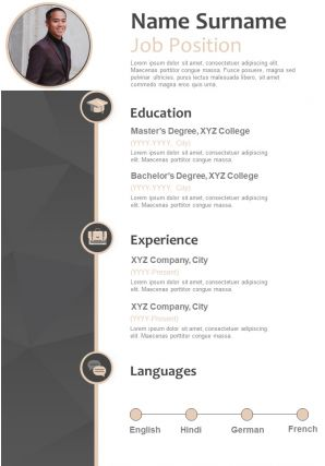 Sample Resume CV Format With Job Details