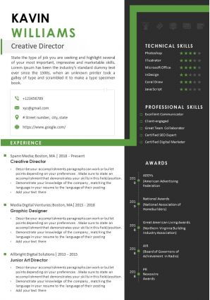 Sample Resume Template For Creative Director