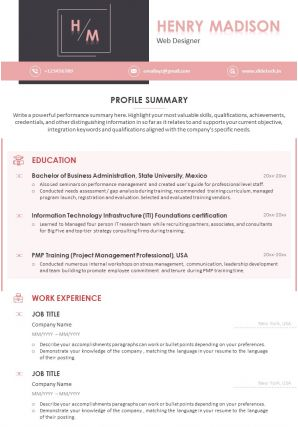 Sample Resume Template For Web Designer With Profile Summary