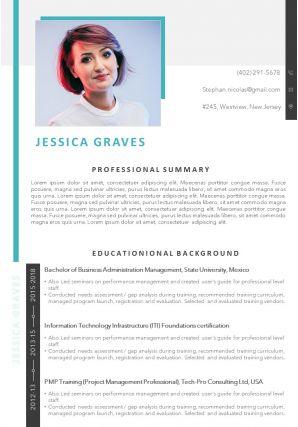 Sample Template Of Professional Curriculum Vitae