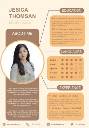 Self Introduction Resume Template Design A4 Format For Job Search