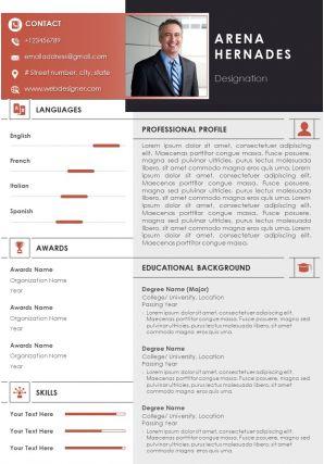 Self Introduction Sample Curriculum Vitae For Job Application