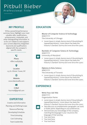 Self Introduction Sample CV For Job Search