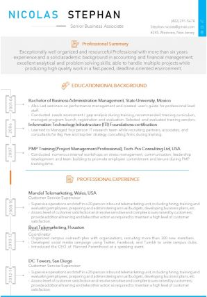 Senior Business Associate Resume Sample Template