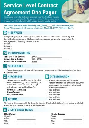 Service Level Contract Agreement One Pager Presentation Report Infographic PPT PDF Document