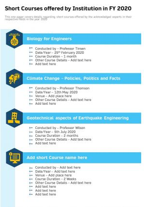 Short Courses Offered By Institution In FY 2020 Presentation Report Infographic PPT PDF Document