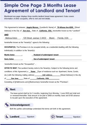 Simple One Page 3 Months Lease Agreement Of Landlord And Tenant Presentation Report Infographic PPT PDF Document