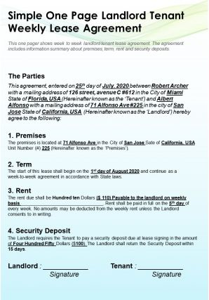 Simple One Page Landlord Tenant Weekly Lease Agreement Presentation Report Infographic PPT PDF Document