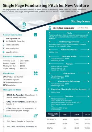 Single Page Fundraising Pitch For New Venture Presentation Report Infographic PPT PDF Document