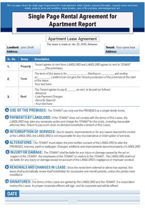 Single Page Rental Agreement For Apartment Report Presentation Report Infographic PPT PDF Document