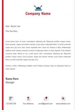 Single Page Restaurant Letterhead Design Template