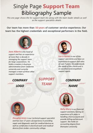 Single Page Support Team Bibliography Sample Presentation Report Infographic PPT PDF Document