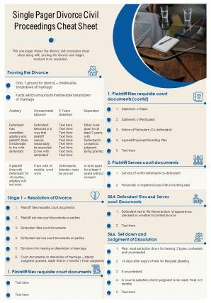 Single Pager Divorce Civil Proceedings Cheat Sheet Presentation Report Infographic PPT PDF Document