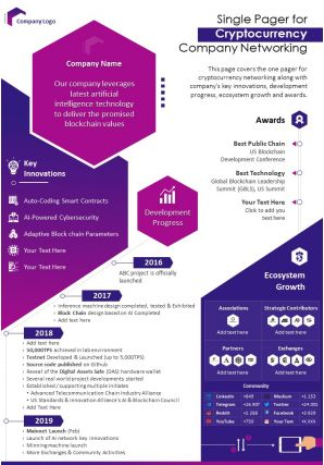 Single Pager For Cryptocurrency Company Networking Presentation Report Infographic PPT PDF Document