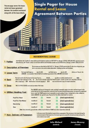 Single Pager For House Rental And Lease Agreement Between Parties Presentation Report Infographic PPT PDF Document