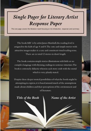 Single Pager For Literary Artist Response Paper Presentation Report Infographic PPT PDF Document