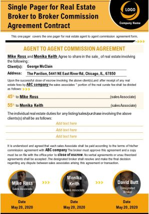Single Pager For Real Estate Broker To Broker Commission Agreement Contract Report PPT PDF Document