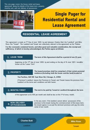 Single Pager For Residential Rental And Lease Agreement Presentation Report Infographic PPT PDF Document