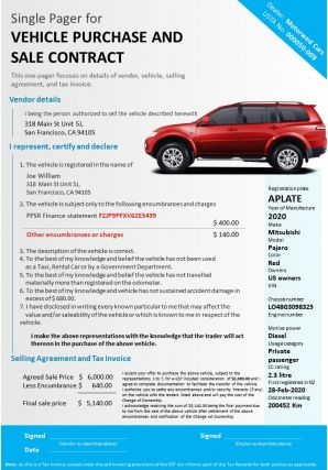 Single Pager For Vehicle Purchase And Sale Contract Presentation Report Infographic PPT PDF Document