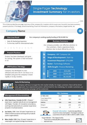One Page Technology Investment Summary For Investors Document PPT PDF Doc Printable