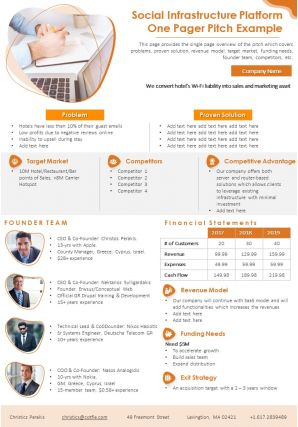 Social Infrastructure Platform One Pager Pitch Example Presentation Report Infographic PPT PDF Document