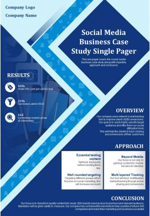 Social Media Business Case Study Single Pager Presentation Report Infographic PPT PDF Document