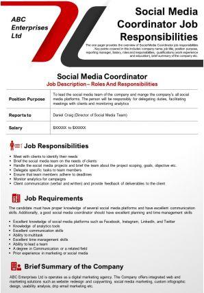 Social Media Coordinator Job Responsibilities Presentation Report Infographic PPT PDF Document