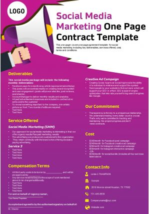 Social Media Marketing One Page Contract Template Presentation Report Infographic PPT PDF Document
