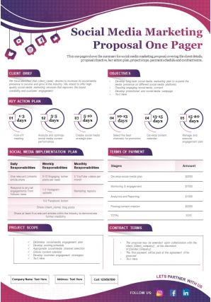 Social Media Marketing Proposal One Pager Presentation Report Infographic PPT PDF Document