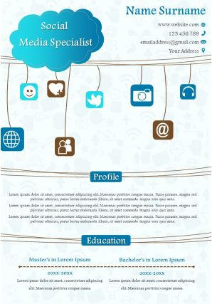 Social Media Specialist Creative Resume Design Infographic Template