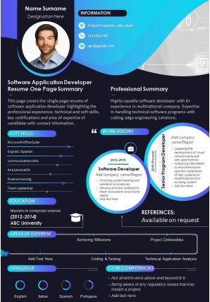 Software Application Developer Resume One Page Summary Presentation Report Infographic PPT PDF Document