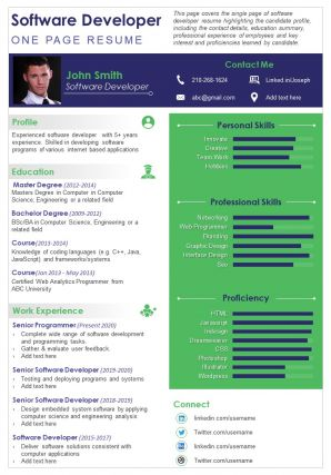Software Developer Resume One Pager Presentation Report Infographic PPT PDF Document