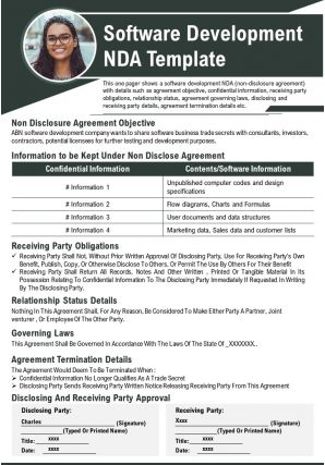 Software Development NDA Template Presentation Report Infographic PPT PDF Document