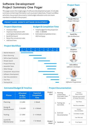 Software Development Project Summary One Pager Presentation Report Infographic Ppt Pdf Document