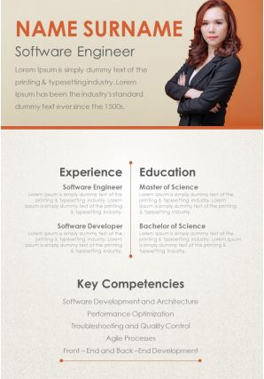Software Engineer Curriculum Vitae Template Experience And Key Competencies