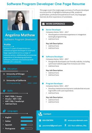 Software Program Developer One Page Resume Presentation Report Infographic PPT PDF Document