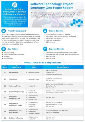 Software Technology Project Summary One Pager Report Presentation Report Infographic Ppt Pdf Document