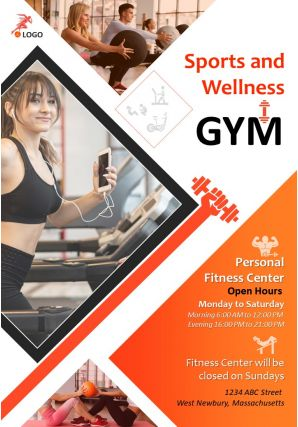 Sports And Fitness Four Page Brochure Template