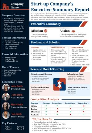 Start Up Companys Executive Summary Report Presentation Report Infographic PPT PDF Document