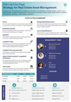 Start Up One Page Strategy For Real Estate Asset Management Presentation Report Infographic PPT PDF Document