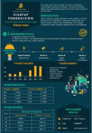 Startup Fundraising One Page Sheet Through Patent Sales Presentation Report Infographic PPT PDF Document