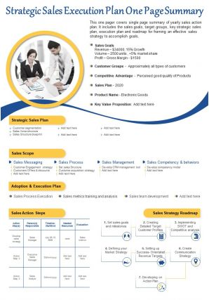 Strategic Sales Execution Plan One Page Summary Presentation Report Infographic PPT PDF Document