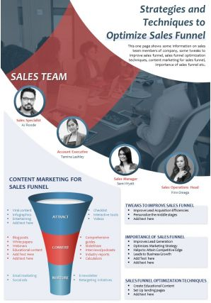 Strategies And Techniques To Optimize Sales Funnel Presentation Report Infographic PPT PDF Document