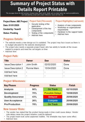 Summary Of Project Status With Details Report Printable Presentation Report Infographic PPT PDF Document