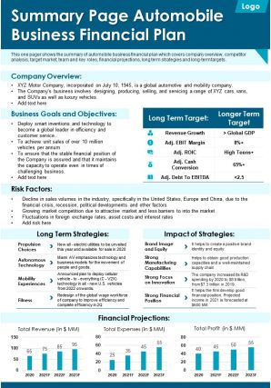 Summary Page Automobile Business Financial Plan Presentation Report Infographic PPT PDF Document