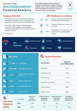Summary One Page Healthcare Industry Company Profile Document PPT PDF Doc Printable