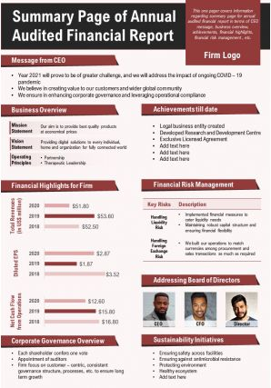 Summary Page Of Annual Audited Financial Report Presentation Report Infographic PPT PDF Document